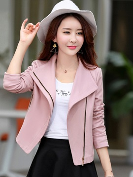 Long Sleeve Slim Plain Lapel Blazer