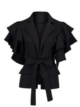 Halloween Lapel with Petal Sleeve and Belt Women's Jacket