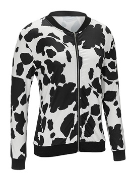 Mixed Printed Zip Up Loose Fit Women's Jacket