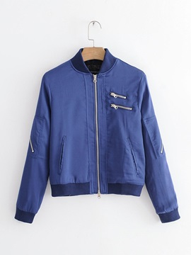 Stand Collar Zipper Pocket Plain Women's Jacket