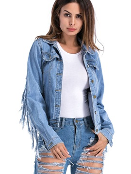 Denim Tassel Worn Lapel Women's Jacket