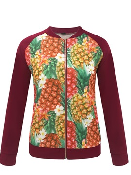 Pineapple Print Zip Travel Look Women's Jacket