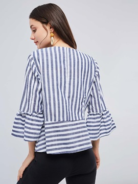 Wrapped Striped Flare Sleeve Women's Jacket