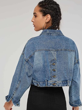 Denim Cropped Embroidered Letter Button Women's Jacket
