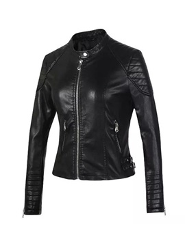 Silver Metallic Slim Short Zip Women's PU Jacket