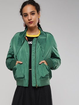 Pockets Plain Zip Short Women's Baseball Jacket