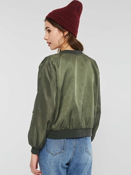 Army Green Zip Bead Stand Collar Women's Jacket