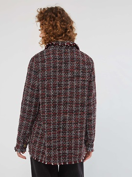 Single-Breasted Plaid Long Sleeve Fall Women's Jacket