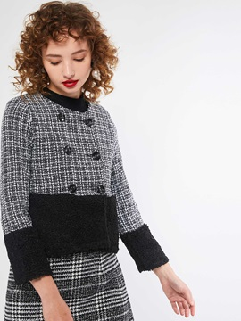 OL Plaid Straight Patchwork Standard Women's Jacket