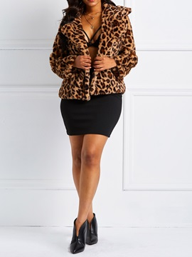 Leopard Flannel Short Notched Lapel Thick Women's Jacket