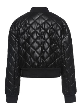 Single-Breasted Slim Thick PU Women's Cotton Padded Jacket