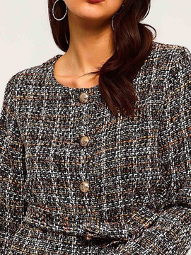Plaid Single-Breasted Lace-Up Winter Standard Women's Jacket