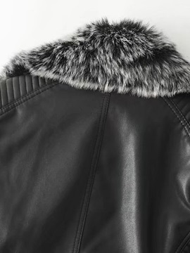 Slim Short Fur Collar Thick Women's PU Jacket