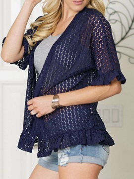 Half Sleeve Spring Lace See-Through Women's Jacket