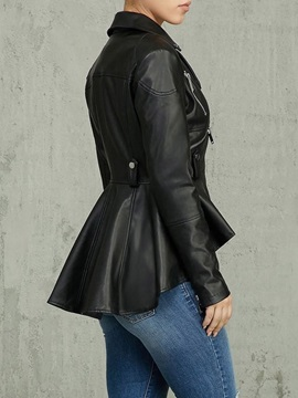 Plus Size Plain Zipper Slim Mid-Length Women's PU Jacket