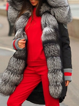 Patchwork Loose Thick Long Women's Cotton Padded Jacket