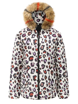 Thick Straight Print Mid-Length Women's Cotton Padded Jacket