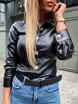 Single-Breasted Slim Women's PU Jacket