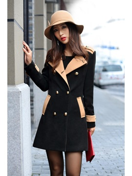 Splendid Korean Style Slim Turndown Collar Double-breasted Trench Coat