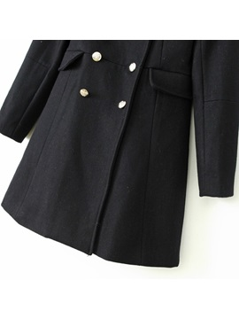 Stylish Double-Breasted Tailored Collar Overcoat