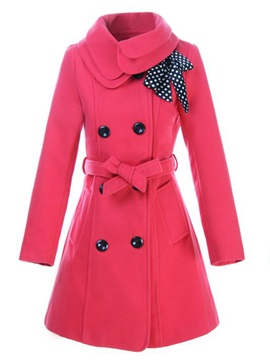 Turn-down Collar Bowknot Slim Woolen Trench Coat