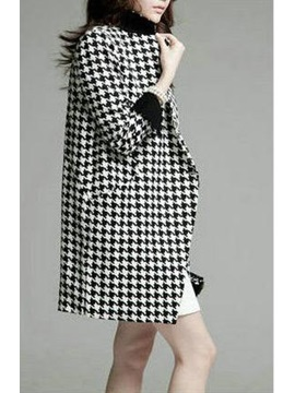 Stylish Black Plaid Color Block Lapel Overcoat