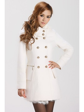 Multi Color Double-breasted Long Sleeve Hooded Thick Overcoat