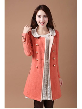 Chic Multi Color Doll Collar Double Breasted Trench Coat