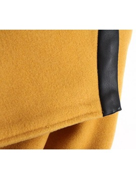 Color Block Long Sleeve Lapel Patch Pockets Trench Coat