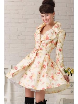 Korean Slim Rose Long Sleeve Trench Coat