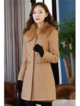 Solid Color Thick Woolen Overcoat