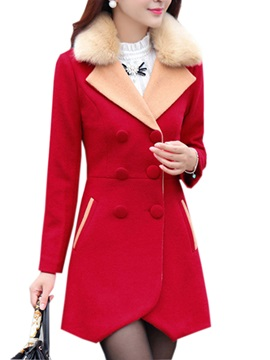 New Style Solid Color Furry Collar Woolen Overcoat