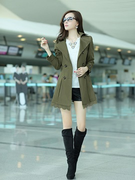 Chic Lace Hem Belt Slim Trench Coat