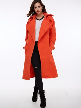 Cool Pure Color Lapel Trench Coat