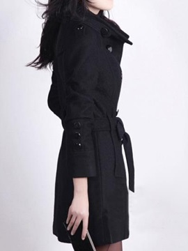 Chic Double Breasted Belt Slim Trench Coat