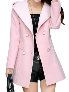 Chic Button Hooded Trench Coat