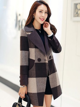 Big Plaid Double Button Trench Coat