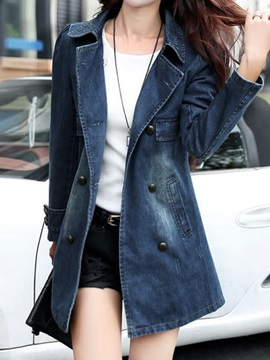 Big Lapel Denim Trench Coat
