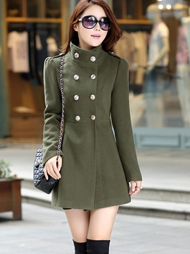 Double Breasted Slim Stand Collar Trench Coat