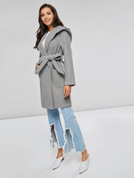 Solid Color Hooded Self-Tie Robe Women's Overcoat