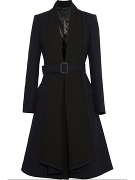 Stylish Collar Belt Slim Trench Coat