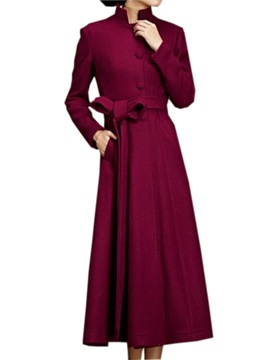 Stylish Color Stand Collar Long Trench Coat