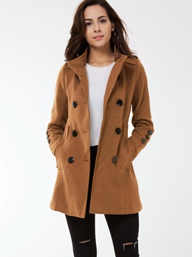 Chic Collar Double Breasted Slim Trench Coat