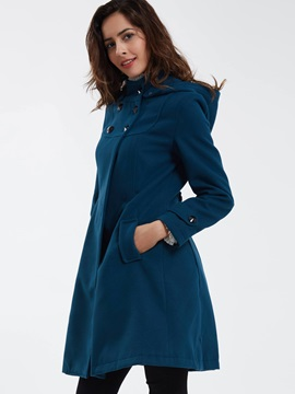 Stylish Button Decoration Slim Trench Coat