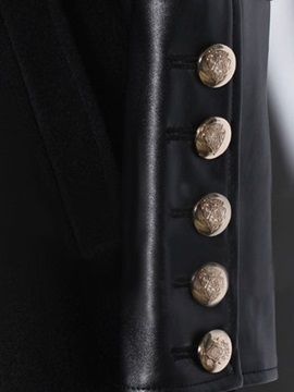 Cool PU Cuff Double Breasted Trench Coat