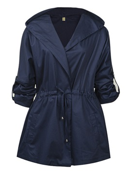 Casual Roll-up Sleeves Trench Coat