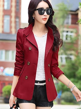 Splendid Double-Breasted Short Trench Coat