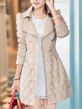Stylish Lace Hem Slim Trench Coat
