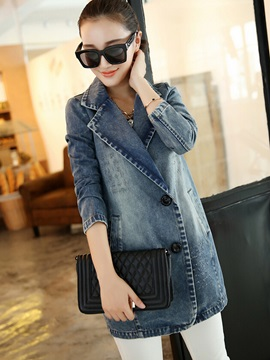 Stylish Lapel Mid-Length Denim Trench Coat