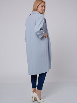 Stylish Solid Color Lapel Long Trench Coat